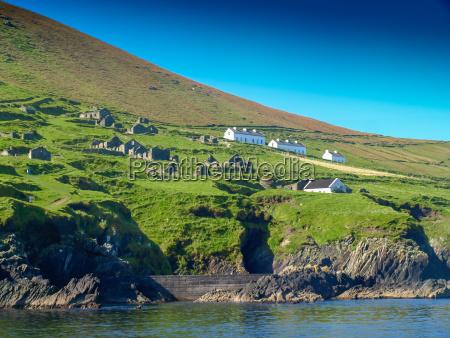 abandoned settlement on blasket island view