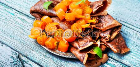 pancakes with orange jam