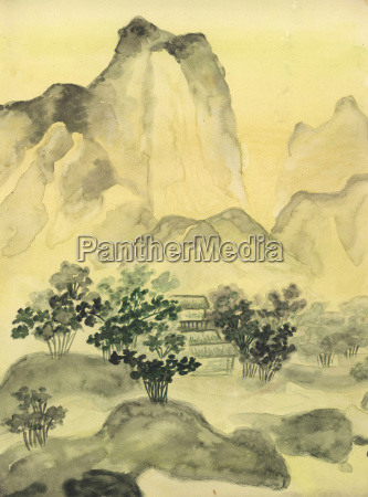 chinese painting hills