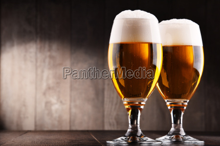 composition with two glasses of lager