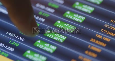 stock stock graph on display screen