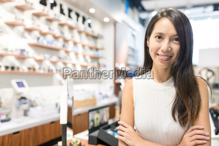 business owner in optical shop