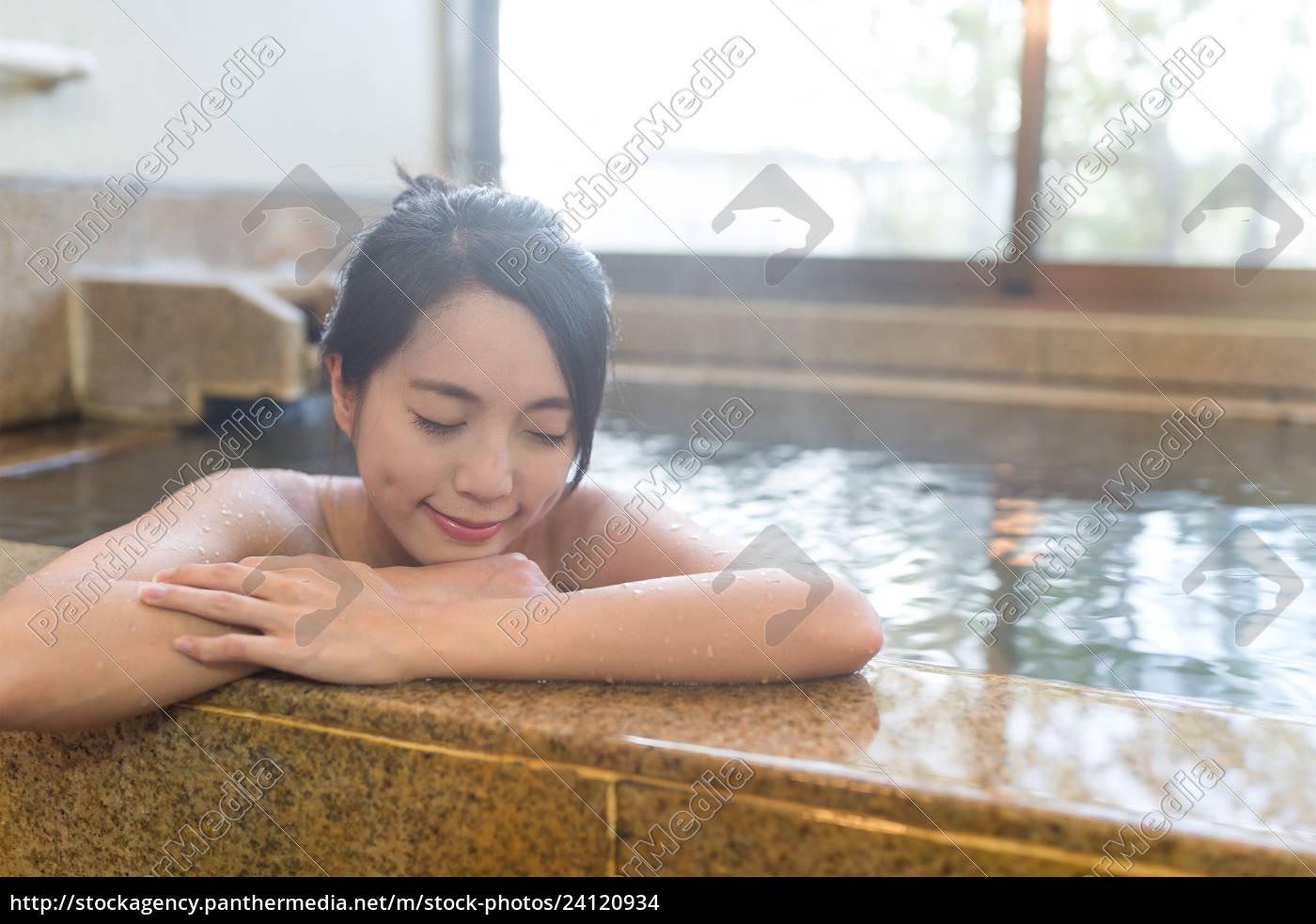 Stock image 24120934 Woman enjoy japanese hot spring