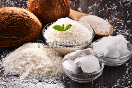 composition with bowl of shredded coconut