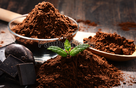 composition with bowl of cocoa powder
