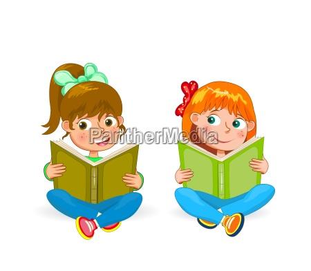 two little happy girls read books