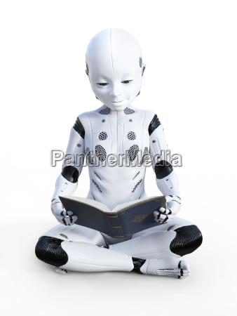 3d rendering of robotic child reading