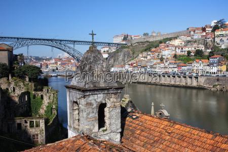 porto and gaia cityscape in portugal