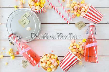 colorful popcorn and limon