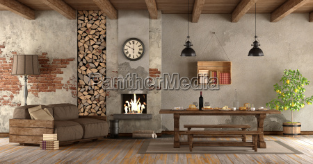 living room with fireplace in rustic
