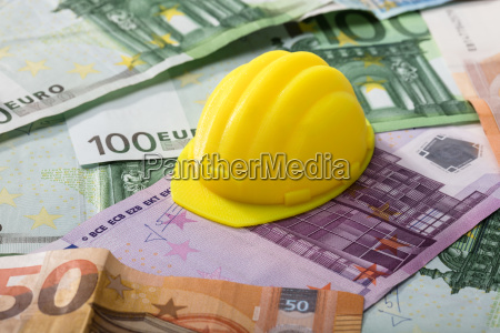 hart hat on euro banknotes