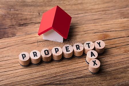 house model near blocks with property