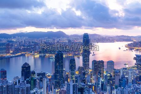 hong kong skyline in the sunset