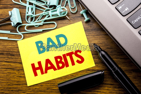 handwriting announcement text showing bad habits