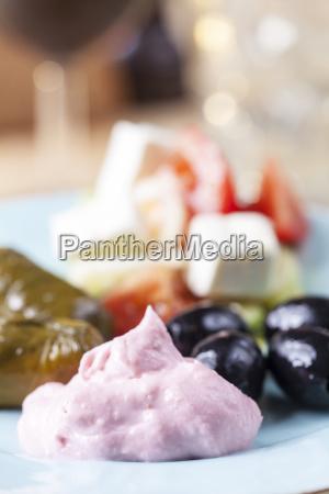 greek taramas and stuffed grape leaves