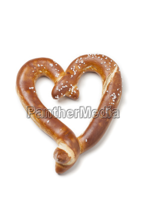 heart shaped pretzel on white