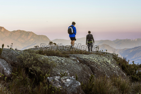 two men hiking in tres picos