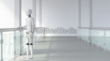 robot standing in empty room waiting
