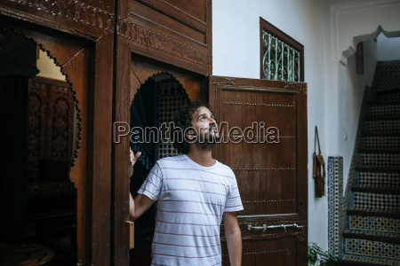 morocco tanger tourist admiring traditionally moroccan