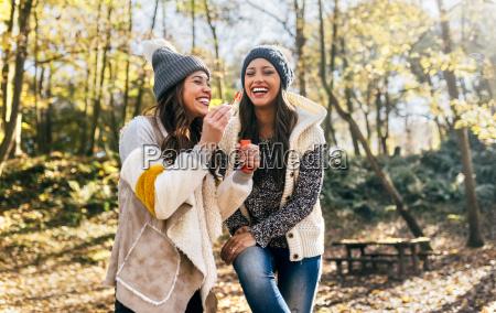 two beautiful women having fun with