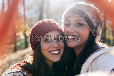 selfie of two happy pretty women
