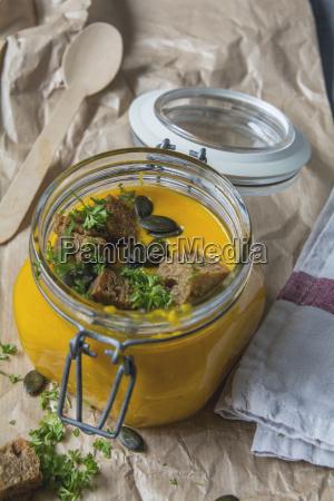 pumpkin soup with croutons pumpkin seeds