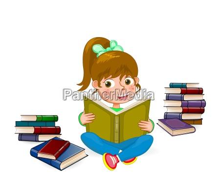 happy girl reading book 1