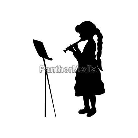 silhouette girl music playing flute