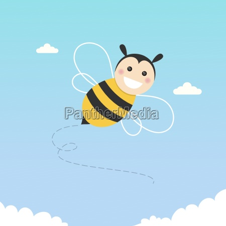 happy bee flying on a blue