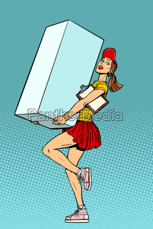 funny woman courier shipping box delivery