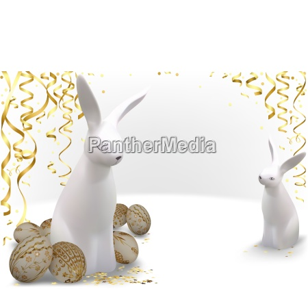 easter greeting card with golden easter