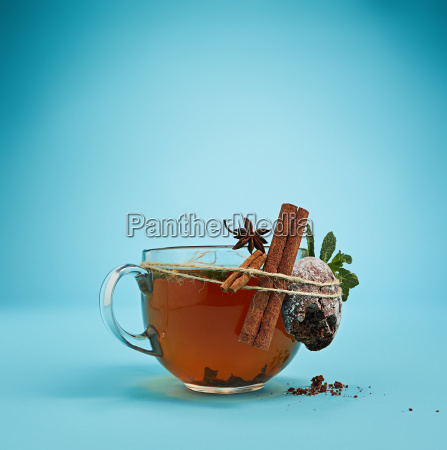 the herbal tea on a blue