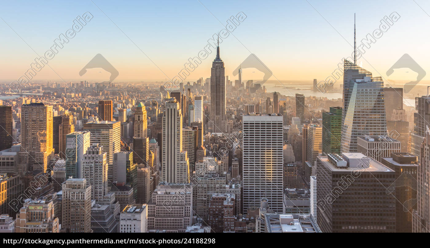 New York City Skyline With Urban Skyscrapers At Royalty Free Image
