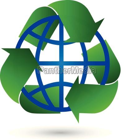 recycling arrows earth globe globe logo