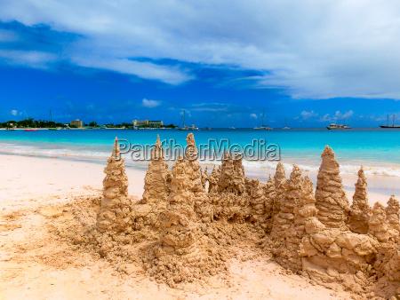 sand castle on tropical white beach
