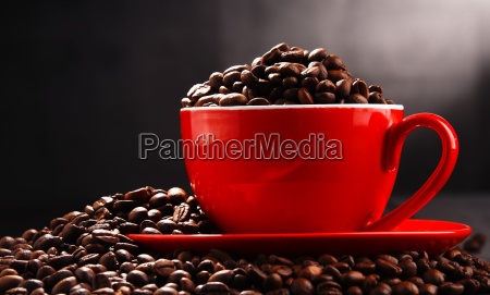 composition with red cup of coffee