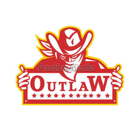 outlaw holding sign retro
