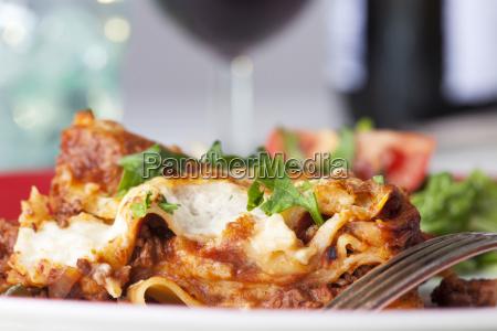 italian lasagna on the plate