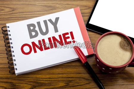 handwriting announcement text showing buy online