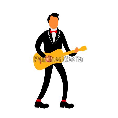 guitarist in tuxedo playing guitar retro