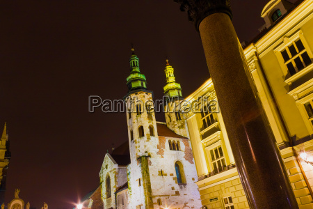 krakow old city at night st