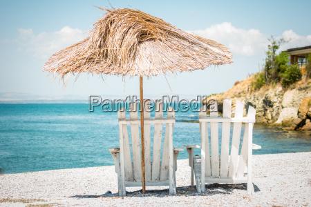 deckchair and an umbrella made of