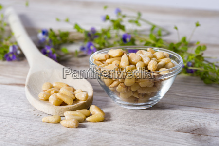 group of pine nuts in cooking