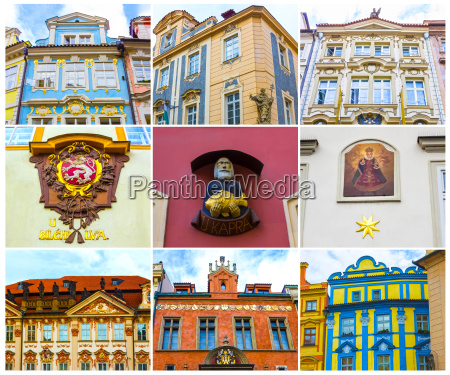 collage from fragments of facades of