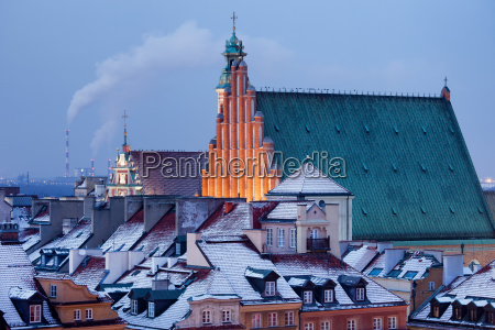 old town of warsaw snowy roofs