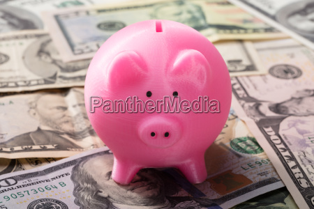 piggy bank on american banknotes