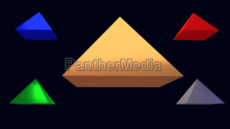 3d illustration of shiny floating pyramids