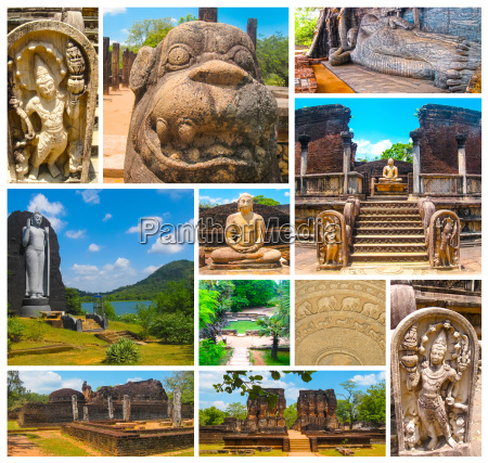 the collage from images of polonnaruwa