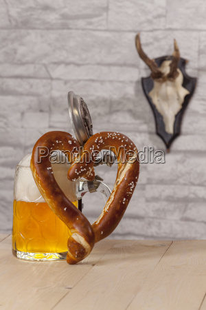 pretzel with heart shaped beer