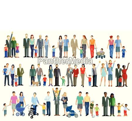 family generation groups illustration